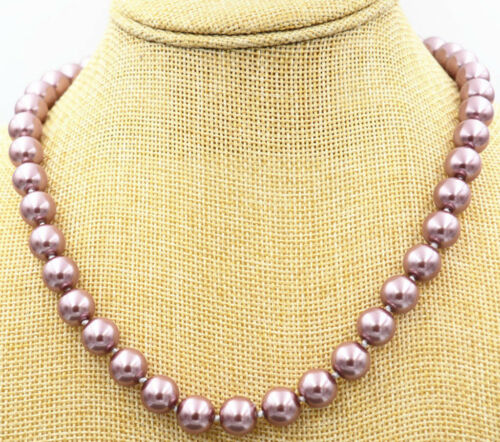 """10mm Silver Champagne South Sea Shell Pearl Necklace 18/"""" AA"""