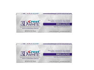 2x-NUEVO-Crest-3d-Blanco-BRILLIANCE-Blanqueamiento-Dental-Pasta-de-dientes