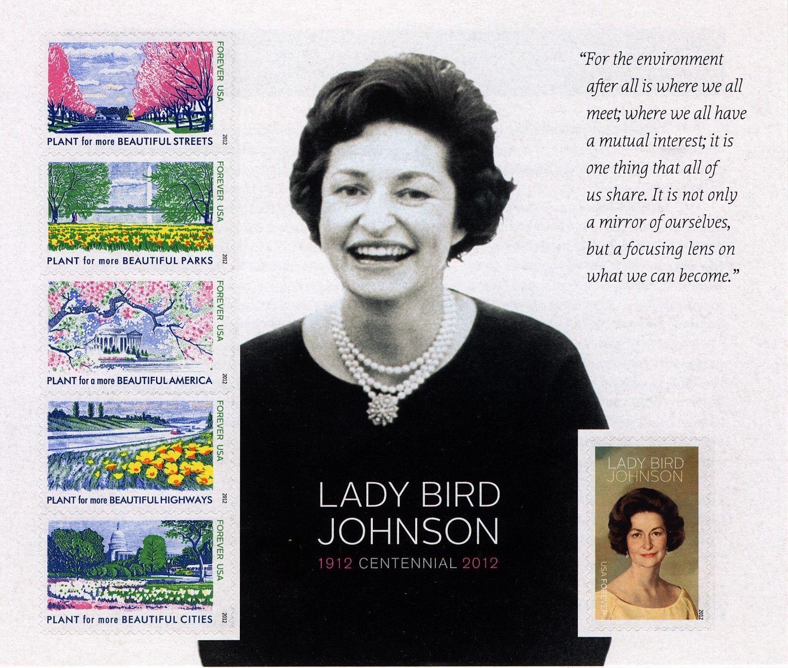 2012 45c Lady Bird Johnson, Souvenir Sheet of 6 Scott 4
