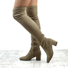 cd3fc02398 item 2 New Womens Over The Knee Block Low Heel Ladies Stretch Leg Thigh  High Boots -New Womens Over The Knee Block Low Heel Ladies Stretch Leg Thigh  High ...