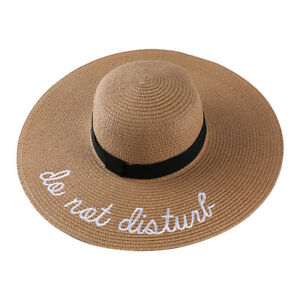 Details about Do Not Disturb Embroidered Straw Hats Wide Brim Floppy Derby  Beach Pool Sun Cap a1e17ed1e086