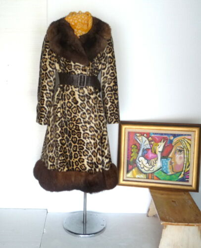 Vtg 50s 60s ROBERT MESHEKOFF Faux Leopard Flared … - image 1