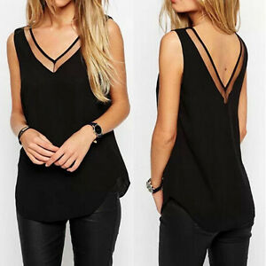 femme sexy tank tops sans manches col v blouse haut soie t shirt chiffon chemise. Black Bedroom Furniture Sets. Home Design Ideas