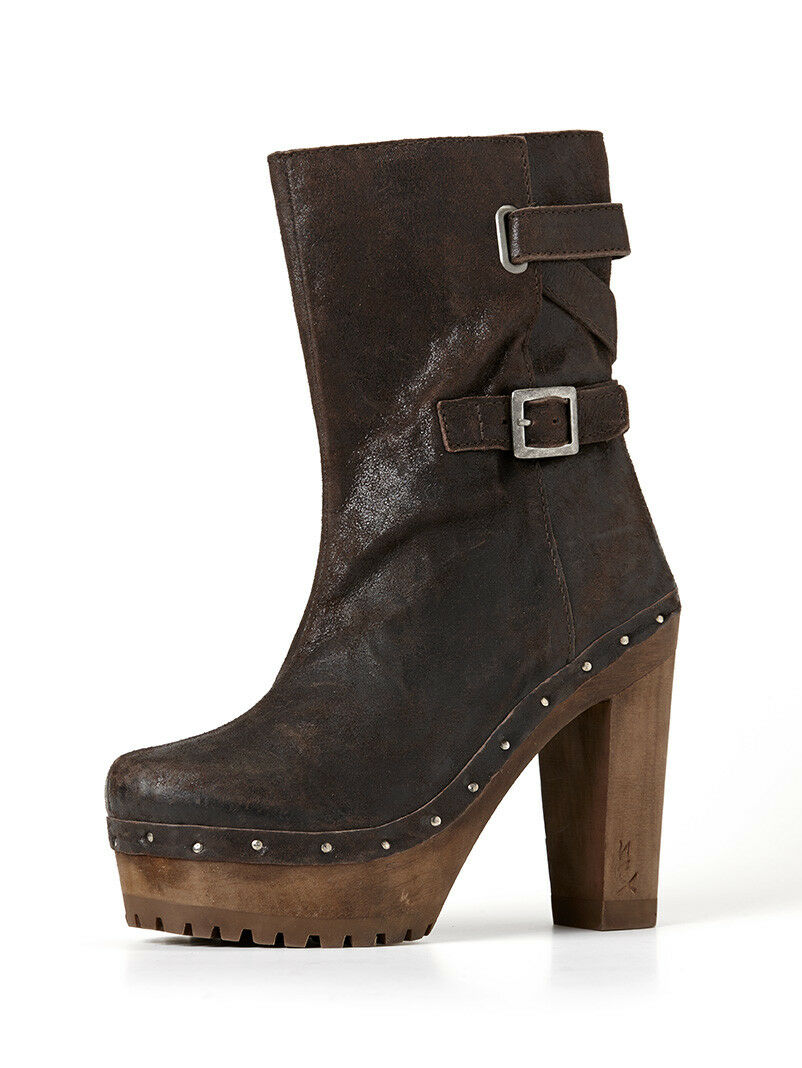 CLEARANCE    Ladies High Heel Brown Short Boots with Buckle