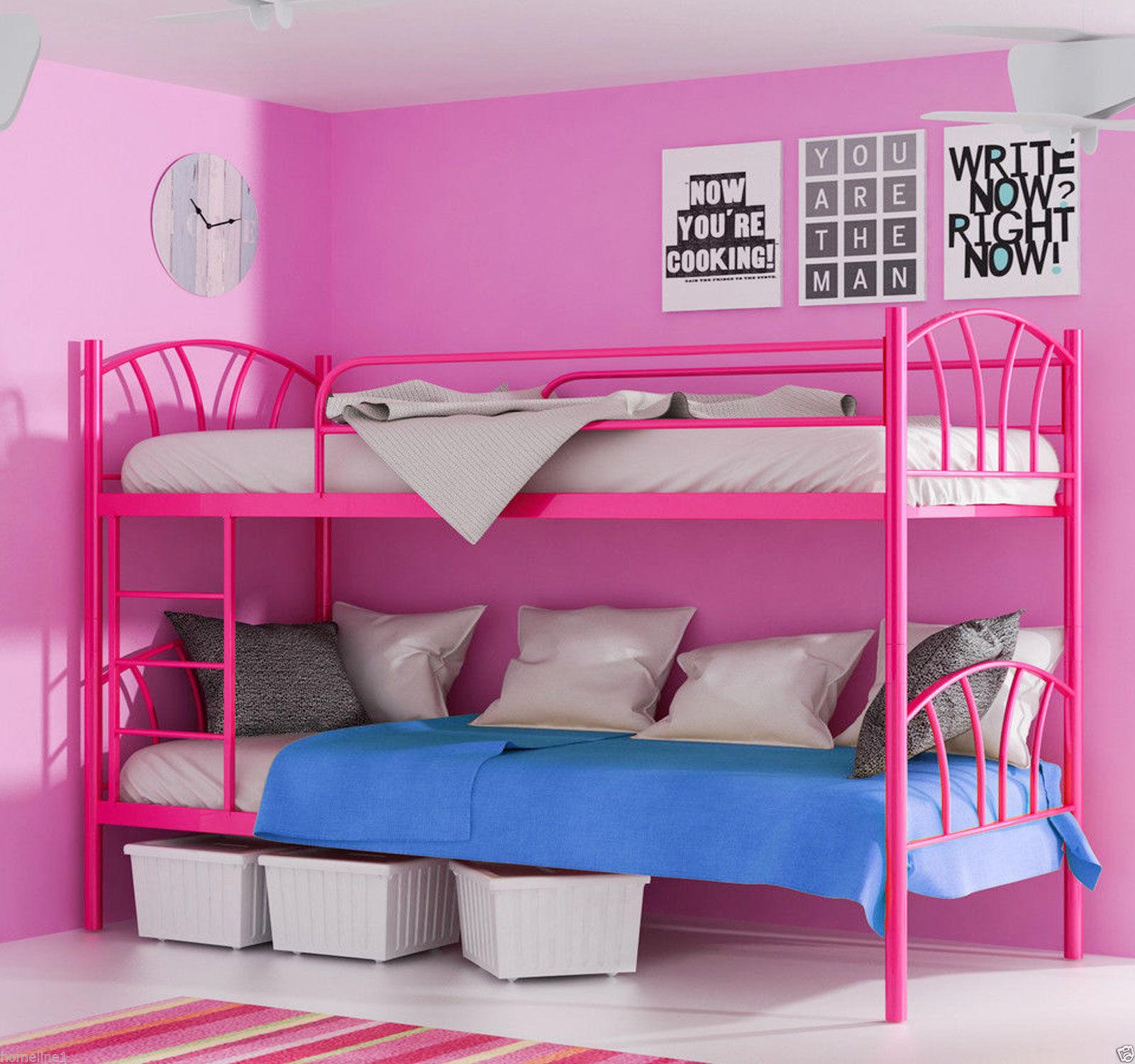Pink Rosa Etagenbett Hochbett Metall 90x200 Matratze Lattenrost Mit