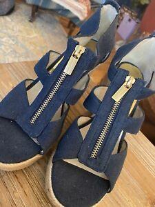 New Sz 7 Women's Michael Kors Damita Wedge Sandal Blue Platform Espadrille