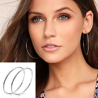 925 Sterling Silver Hoop Earrings Large Hooped Sleeper 50mm Ladies Genuine
