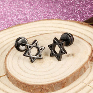 Star-of-David-Silver-Black-Yellow-Gold-GP-Surgical-Stainless-Steel-Earrings-Gift