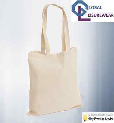 10 Pack 100% Eco Premium Cotton Promotional Canvas Shoulder Tote Shopper Bags