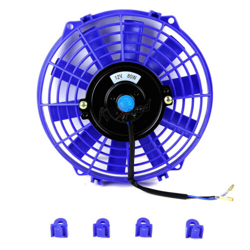 "2X UNIVERSAL BLUE 9/"" ELECTRIC RADIATOR//ENGINE COOLING FANS+MOUNTING ZIP TIE KIT"