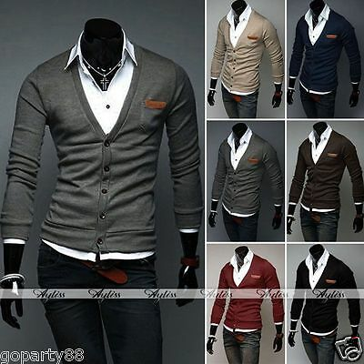 New Men Slim Fit Button Down Cotton Knit V Neck Casual Sweater Cardigan