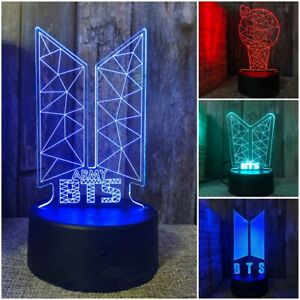 KPOP BTS BANGTAN BOYS ARMY 3D LED Night Light Lamp 4 Style 16 Colors With Remote