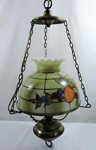 Vintage-Hurricane-Style-Hanging-Light-Swag-Lamp-Hand-Painted-Fruits-Glass-Globe