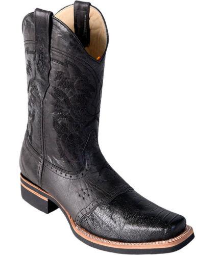 Los Altos BLACK Genuine Ostrich Leg Rodeo Square Toe Western Cowboy Boot EE