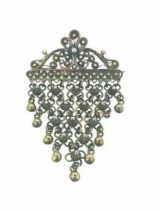 Antique-Brooch-Pin-Cascade-Unknown-Metal-Filigreed-Circa-1890s