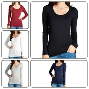Women-039-s-Long-Sleeve-Shirt-Scoop-Neck-T-shirt-Top-Tee-Shirts-1XL-3XL-PLUS-SIZE
