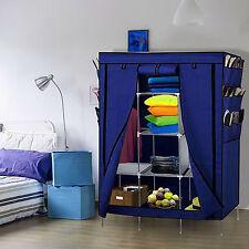 "69"" Portable Closet Organizer Storage Wardrobe Clothes Shoe Rack Shelves Blue"