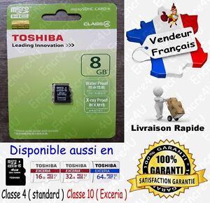 Carte-Memoire-TOSHIBA-Micro-SD-SDHC-8-Go-Classe-4-Dispo-aussi-en-4-16-32-64-Gb