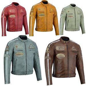 Uomo-Retro-Moto-Giacca-di-pelle-con-protezioni-Biker-Giacca-Giacca-Moto