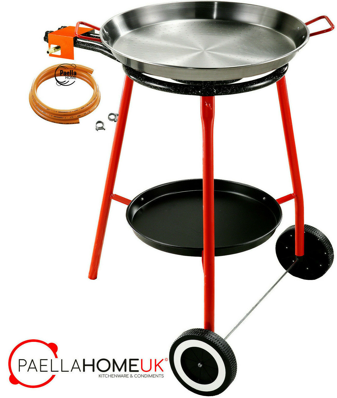 46cm Original Paella Pan Set + 40cm Gas Burner + Reinforced Tripod Legs on Weels