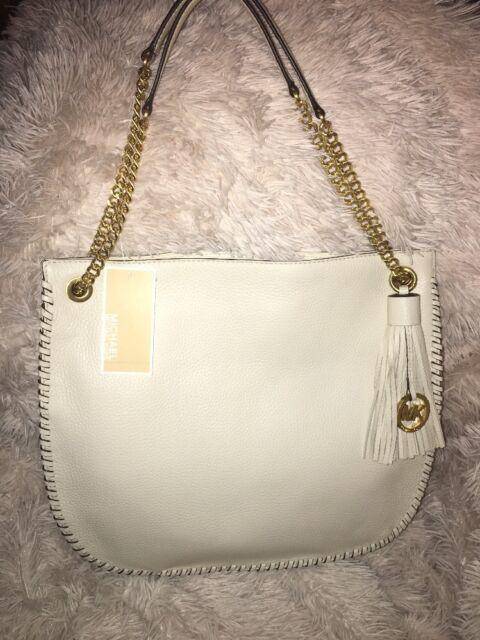 Michael Kors Whipped Chelsea Large TZ Shoulder Bag ECRU Leather Tassel NEW   368 9647ca763250f