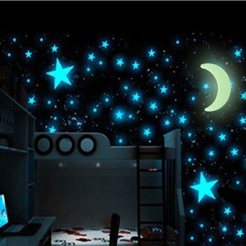 30 Stück fluoreszierende Leuchtaufkleber Mond und Sterne Wand Decke Aufkleber x