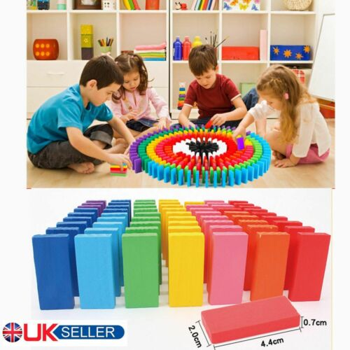 240Pcs Wooden Coloured Tumbling Dominoes Family Games Kids Play Set Toy Gift UK