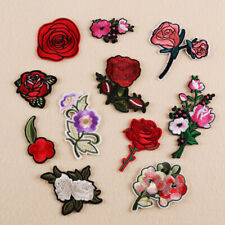 2 x Red Rose Flower Embroidery Applique Cloth DIY Sewing Iron on Patch Badge