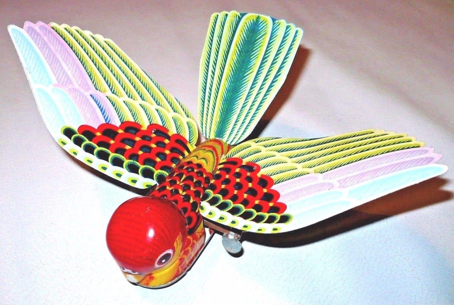 Vintage tinplate MECHANICAL FLAPPING BIRD Tin Toy  Japan Yone Litho Wind Up