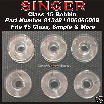 Genuine Singer Class 15 Plastic Bobbin #81348 For Home Sewing Machines 10 Pk
