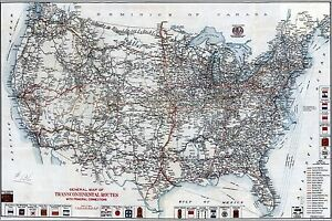 Details about Poster, Many Sizes; Map Of United States Highways & Roads 1918