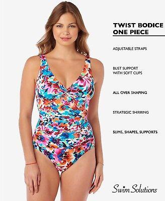 Swim Solutions Paisley Mix V Neck Mio One Piece Bathing Suit
