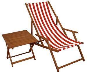 Chaise Longue Rouge Blanc De Jardin Table Plage