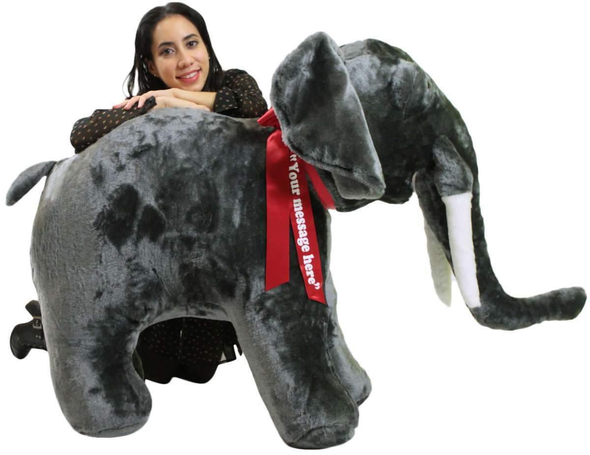 Elefantes peludos gigantes personalizados de 48 pulgadas, Peludos y peludos, hechos en Estados Unidos.