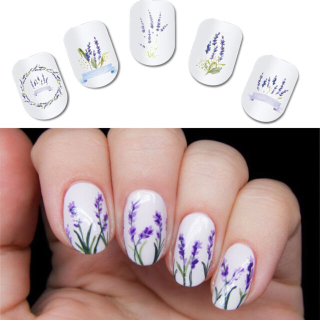 2pcs Spring Purple Fresh Flower Nail Art Water Decal Lavender