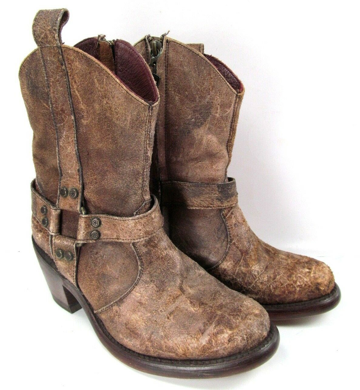 Ariat Womens Distressed Harness Western Boots shoes Size 6 EUC