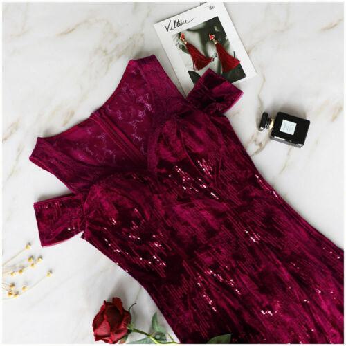 Ever-Pretty US Glitter Evening Formal Gown Bridesmaid Dress Burgundy Long 07396