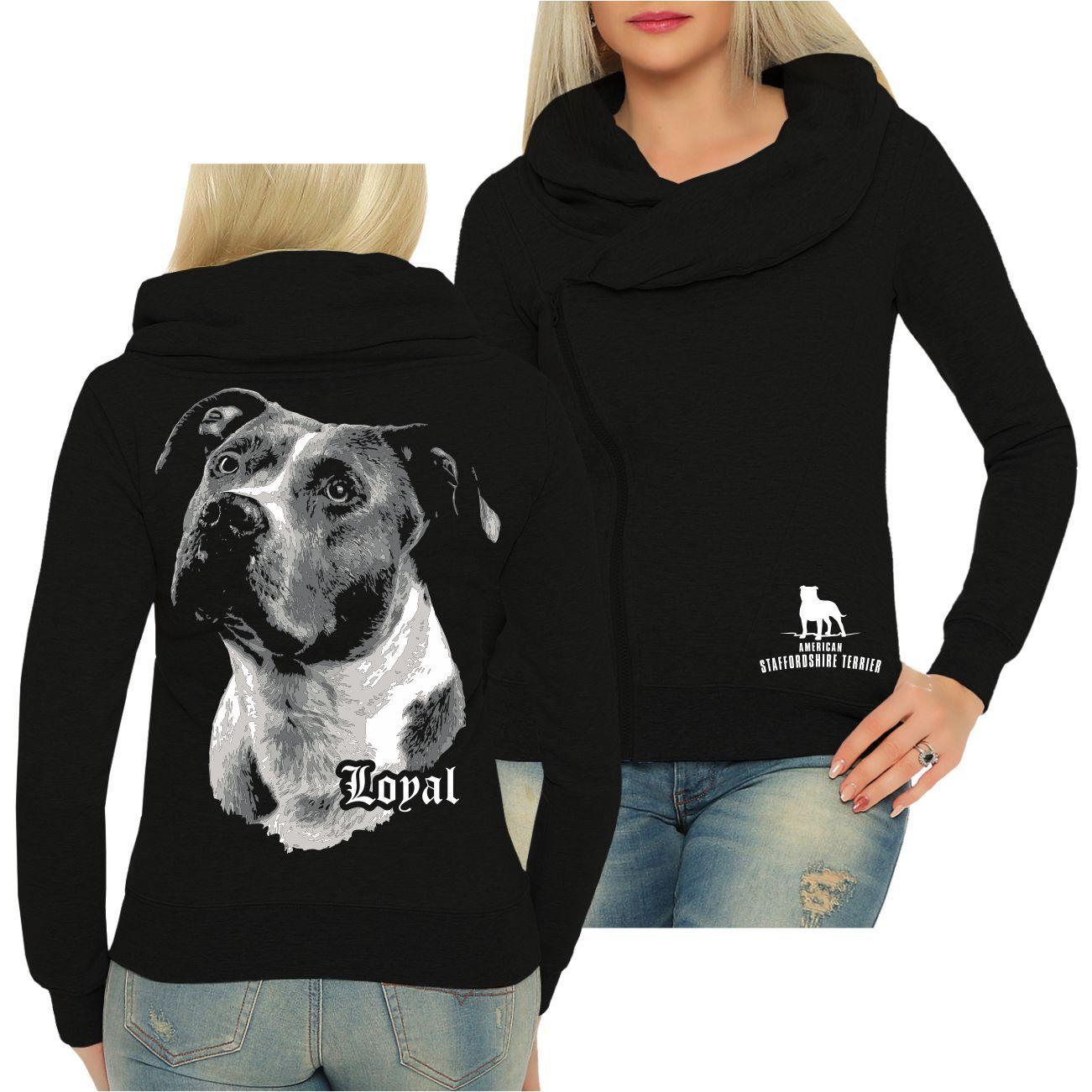 Frauen Schalkragen Jacke American Staffordshire Terrier treuer Freund Loyal Hund