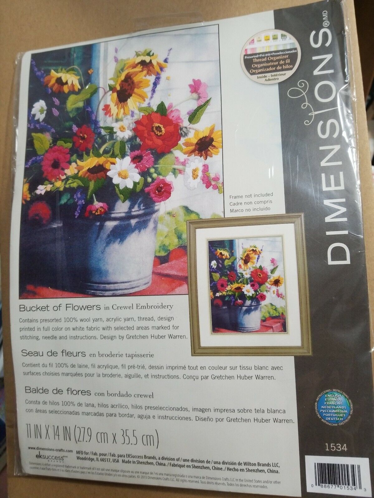 D01534 Dimensions Crewel Embroidery Kit Bucket of Flowers