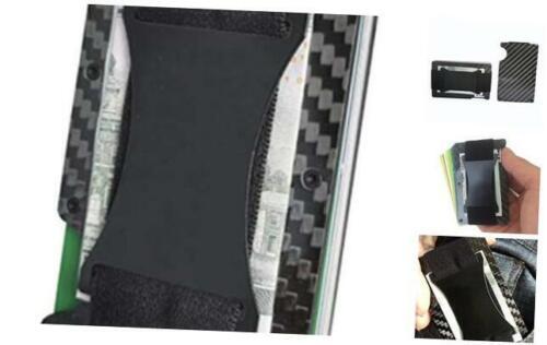 Mens Minimalist Slim Carbon Fiber wallet with cash strap