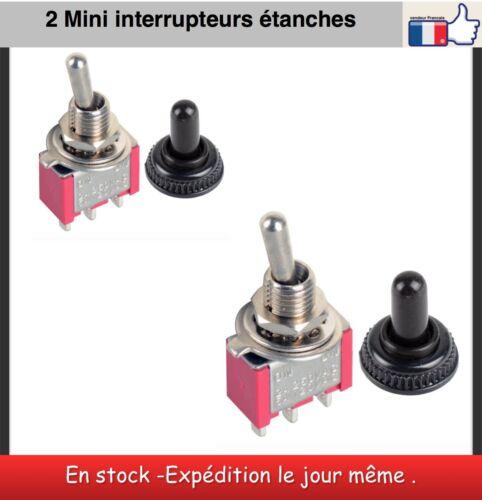 2 Mini interrupteurs  2 positions étanche 12 V miniature toggle switch cap on