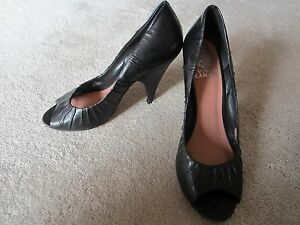 Details about WOMENS VINCE CAMUTO BLACK ARA STYLE OPEN TOE LEATHER UPPER HIGH HEELS SIZE 8.5