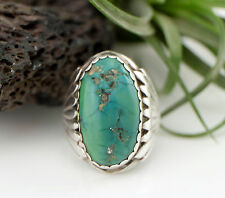 Vtg Sterling Silver Old Zuni Green Turquoise Mens Ring sz 10