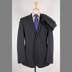 Express 40R 32x33 Gray Striped Wool Two Button Flat Front Suit