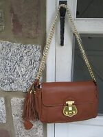 Beautiful Talbots Tan Leather Cross Body/shoulder Bag/ Gold Chain