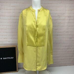 3-1-Phillip-Lim-100-Silk-Yellow-Button-Down-Front-Long-Sleeve-Top-Shirt-Sz-4