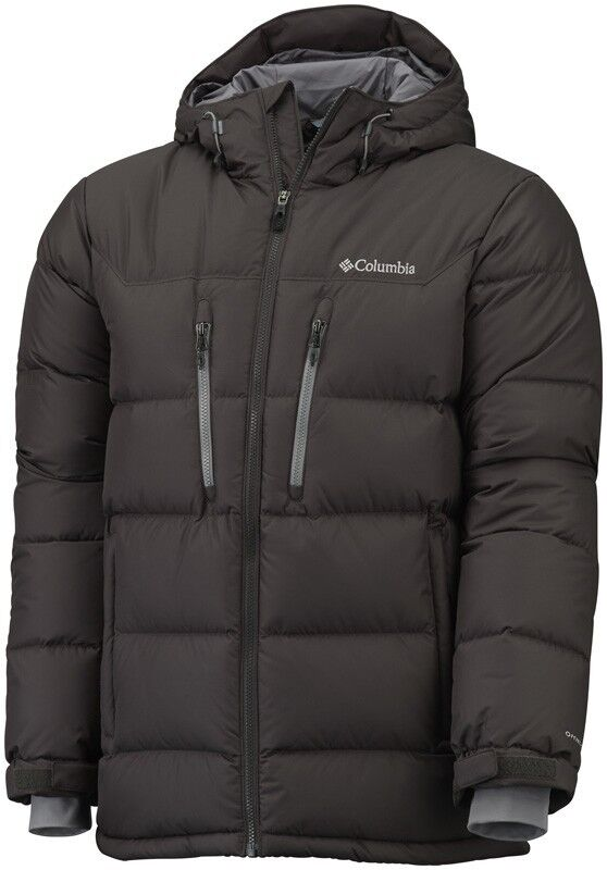 Columbia hombre Alaska II II II abajo chaqueta con capucha marrón pequeña 2c7e59