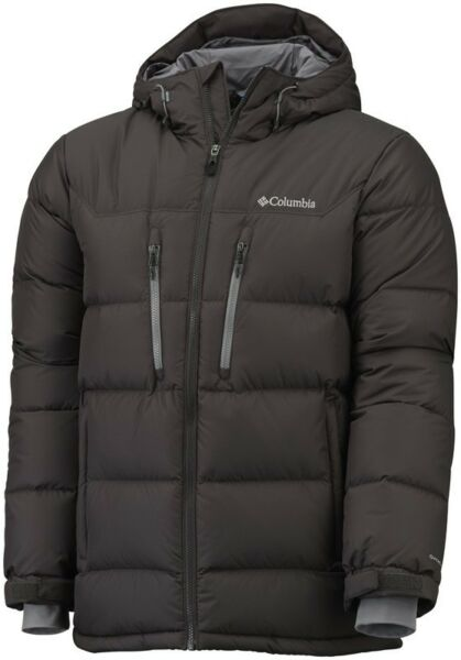 Columbia Men's Alaskan Ii Down Giacca Con Cappuccio Marrone Piccola