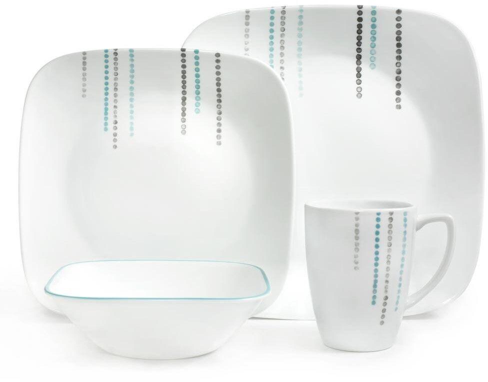 Corelle 16 Piece Dinnerware Set Vitrelle Glass Service For 4 Plate Mugs Bowls