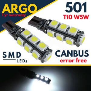 501-Sidelight-DEL-voiture-T10-Blanc-Cote-Lumiere-Ampoules-Gratuite-Canbus-13-Smd-Xenon-HID